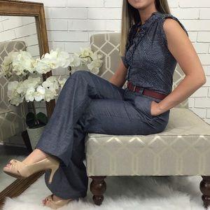 Elevenses | Wide Leg Blue Jumpsuit Polka Dots